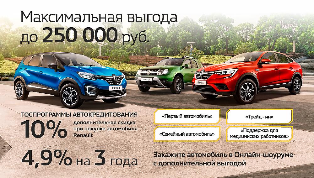 Выгоды на RENAULT до 250 000 рублей!
