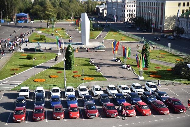 Флеш-моб в день Российского флага в Вологде
